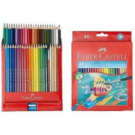 Faber-Castell Estuche de Carton 48 Lapices de Color Acuarelables + 1 Pincel + 1 Afila
