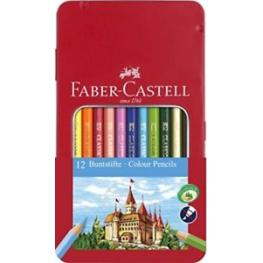 Faber Castell Estuche de Metal 12 Lapices de Color Clasicos