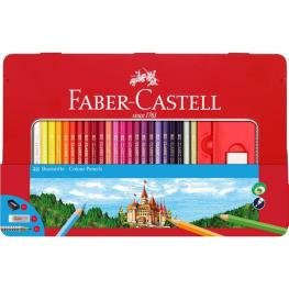 Faber-Castell Estuche de Metal 48 Lapices de Color Clasicos + 1 Afila + 1 Goma Borrar Dust-Free + 1