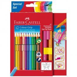 Faber Castell Estuche de Carton 12 Lapices Colores Grip + 2 Rotuladores Connector