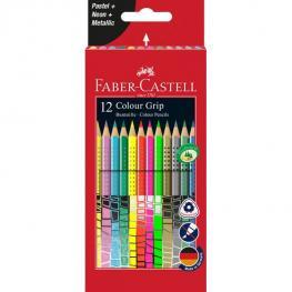 Faber Castell Estuche de Carton 12 Lapices Color Grip (4 Neon, 4 Pastel y 4 Metalicos)