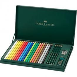 Faber Castell Juego de Regalo Mixed Media 20 Lapices Colores Polychromos Artistas + 4 Lapices Grafit