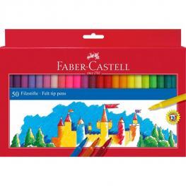 Faber Castell Estuche de Carton 50 Rotuladores Escolares Punta de Fibra