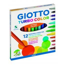 Giotto Rotuladores Turbo Color Estuche 12 Ud Punta Media Colores Surtidos 416000