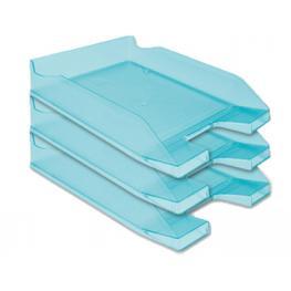 Bandeja Sobremesa Portadocumentos Q-Connect Plastico Azul Turquesa Translucida