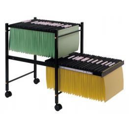 Carrito Q-Connect Para Carpetas Colgantes Folio Negro Con Ruedas y Bandeja Inferior Extraible