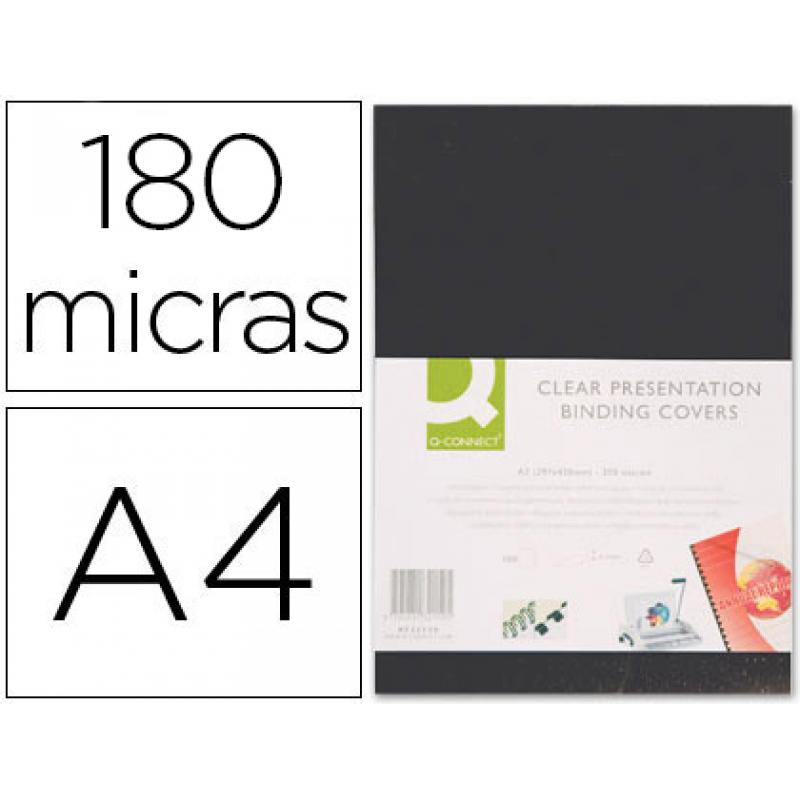 Paq. 100 Contraportadas A4 Pvc 180 Micras Negras Q-Connect