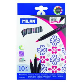 Caja 10 Rotuladores Colores Punta Pincel Milan