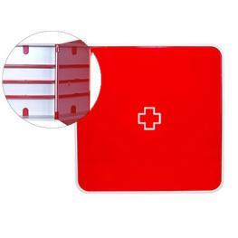 Paperflow Armario Mural Para Medicinas Color Rojo 4 Estantes Fabricado En Abs Brillo Mtbmh18
