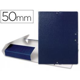 Carpeta Proyectos Liderpapel Folio Lomo 50Mm Carton Gofrado Azul.