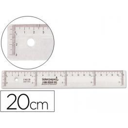 Regla Plastico Cristal 20 Cm Liderpapel Rg01