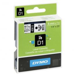 Dymo Cintas D1 Rotulacion 6Mmx7M Negro/blanco Adhesivo Permanente S0720780