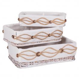 Bandejas Yute Lacado Blanco Set