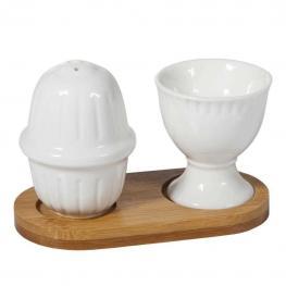 Set de Ceramica Para Huevo - Madera + Ceramica