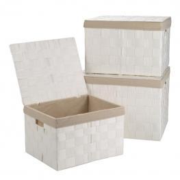 Cajas Forradas Set 3 Pzas - Raffia Material + Cotton