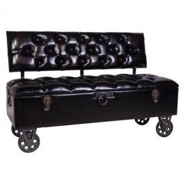 Sofa Baul de Polipiel Negro Con