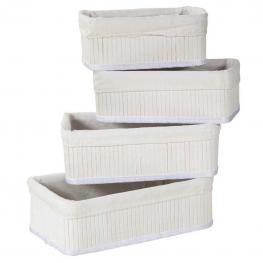 Cestos de Bambu Lacado Blanco