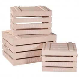 Cajas de Madera Rosa Set 3 Pzas