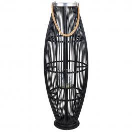Farol Portavelas de Bambu Negro