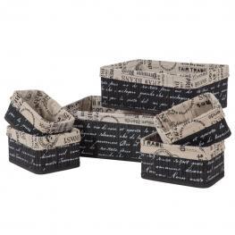 Cestos Negros Set 6 Pzas - Bambu + Cotton Fabric