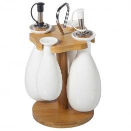 Set Aceitera de Madera y Ceramica - Madera + Ceramica
