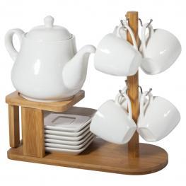 Set de Cafe de Madera y Ceramica - Madera + Ceramica