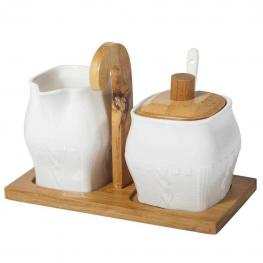 Set de Lechera y Azucarera de - Madera + Ceramica