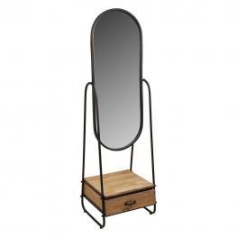 Espejo de Pie de Madera y Metal