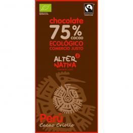 Chocolate Peru 75% Cacao 100 Gr Bio