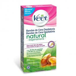 Bandas de Cera Depilatoria Natural Inspirations Veet Easy Gelwax (Pack de 20)