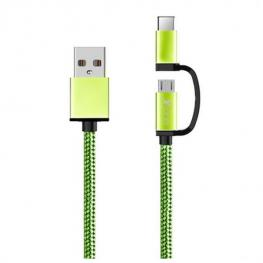 Cable Usb A Micro Usb y Usb C Ref. 101134 Verde