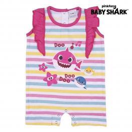 Pelele de Manga Corta Para Bebé Baby Shark Rosa