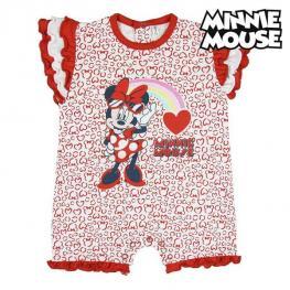 Pelele de Manga Corta Para Bebé Minnie Mouse Rojo Blanco