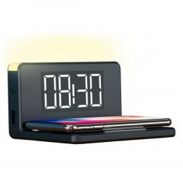 Reloj Despertador Con Cargador Inalámbrico Ksix Qi Negro