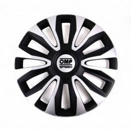 Tapacubos Omp Magnum Speed Negro Plateado 13 (4 Uds)