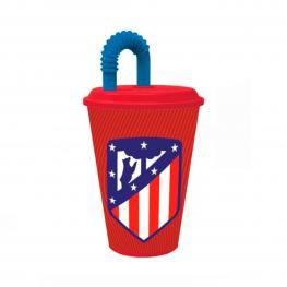 Vaso Con Tapa Atlético Madrid Plástico