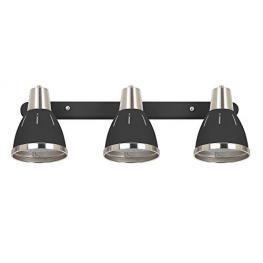 Homcom® Lámpara de Pared Giratorio Focos de Pared Orientable Vintage Apliques 3 Luces E27 40W Ф13X16X55Cm Negro<br> - Color: Negro