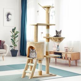 árbol Rascador Para Gatos Con Nidos 50X35X131 Cm  - Pawhut. Beige  - Color: Beige