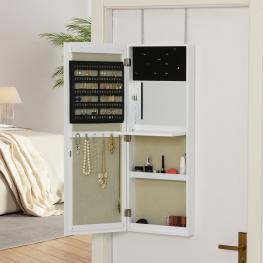 Armario de Joyería de Espejo de Madera Homcom 35,5X100X9Cm-Blanco  - Color: Blanco