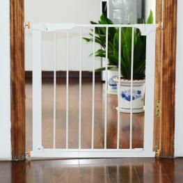 Barrera de Seguridad Para Mascotas O Niños Ajustable A Puertas y Escaleras  - Hierro Color Blanco  - 74-95 X 70Cm  - Color: Blanco