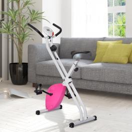 Bicicleta Estática de 8 Niveles Con Pantalla Digital Para Fitness y Spinning - Carga Máxima 110Kg - 41X66X104Cm - Color: Blanco y Rojo