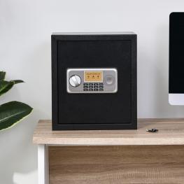 Caja Fuerte Electrónica Con Llave de Acero Homcom 35X30X39,3Cm-Negro  - Color: Negro