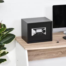 Caja Fuerte Electrónica Con Llave Homcom 38X30X30Cm-Negro y Plata  - Color: Negro