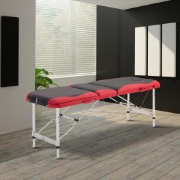 Camilla de Masaje Aluminio Plegable 185 X 60Cm Tatuaje Terapia Cama Negro Rojo - Color: Negro y Rojo
