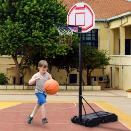 Canasta de Baloncesto Sobre Ruedas Con Soporte Ajustable Canasta Con Red y Panel<br> - Color: Blanco y Negro