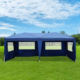 Carpa Pabellón de Jardín Tipo Gazebo Para Exterior Camping Fiesta y Boda Con 4 Paredes y Ventanas  - Color Azul  - Acero Oxford  - 600 X 300 X 255 Cm