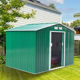 Caseta de Jardín Tipo Cobertizo  - 277X181X192Cm  - Outsunny. Verde  - Color: Verde Oscuro