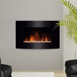 Chimenea Eléctrica Con Calefacción y Llama Led Decorativa<br> - Acero Inoxidable<br> - Color Negro<br> - 65X11,2X52Cm<br> - Color: Negro