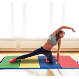 Colchoneta Tipo Esterilla de Gimnasia Plegable En 4 Partes Para Yoga Fitness Pilates y Musculación  - Amarillo Rojo Azul Verde  - Plástico Relleno de