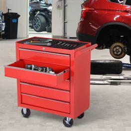 Durhand Carro de Herramientas Con Ruedas Caja Taller Cerradura Tipo Mueble de Almacenamiento Para Taller Garaje y Hogar Chapa de Acero Rojo<br> - 69X3
